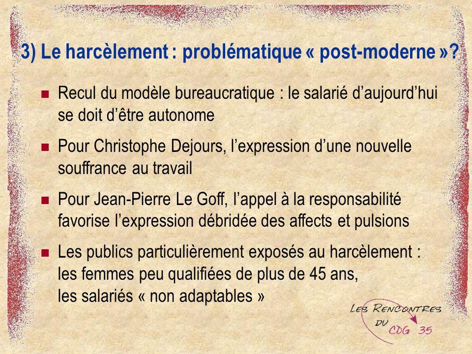 3) Le harcèlement : problématique « post-moderne ».