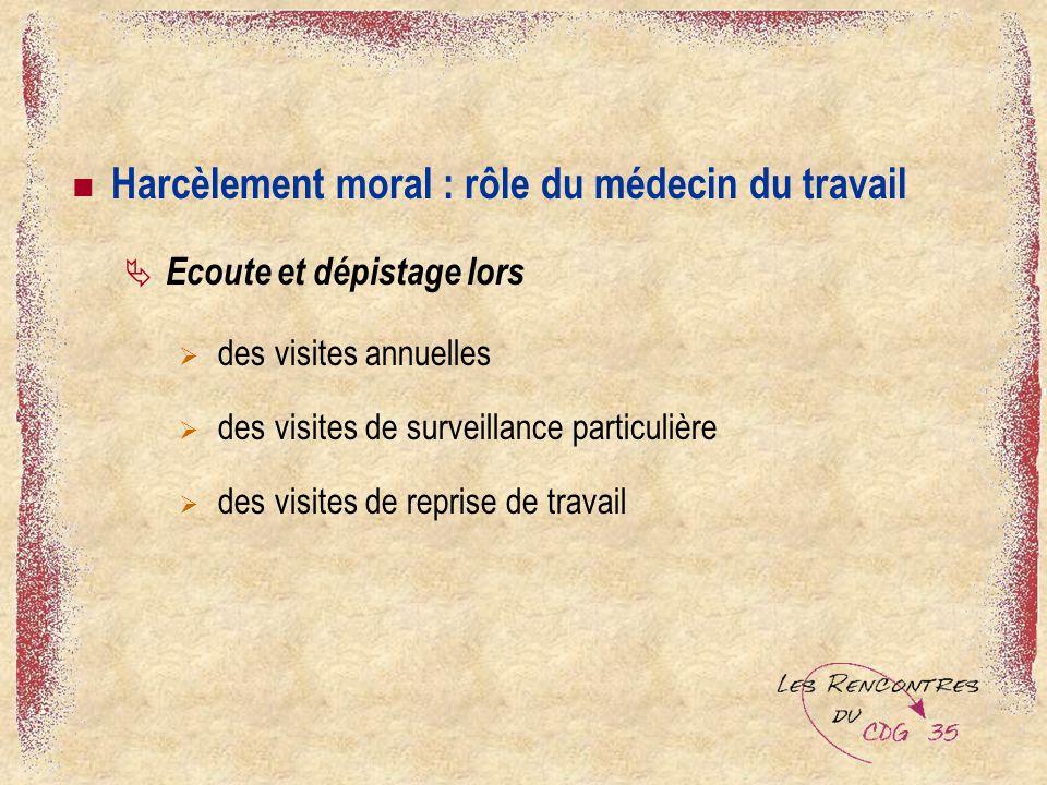 Harcèlement moral : rôle du médecin du travail Ecoute et dépistage lors des visites annuelles des visites de surveillance particulière des visites de reprise de travail