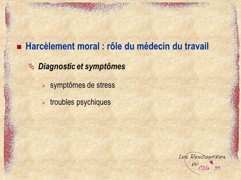 Harcèlement moral : rôle du médecin du travail Diagnostic et symptômes symptômes de stress troubles psychiques