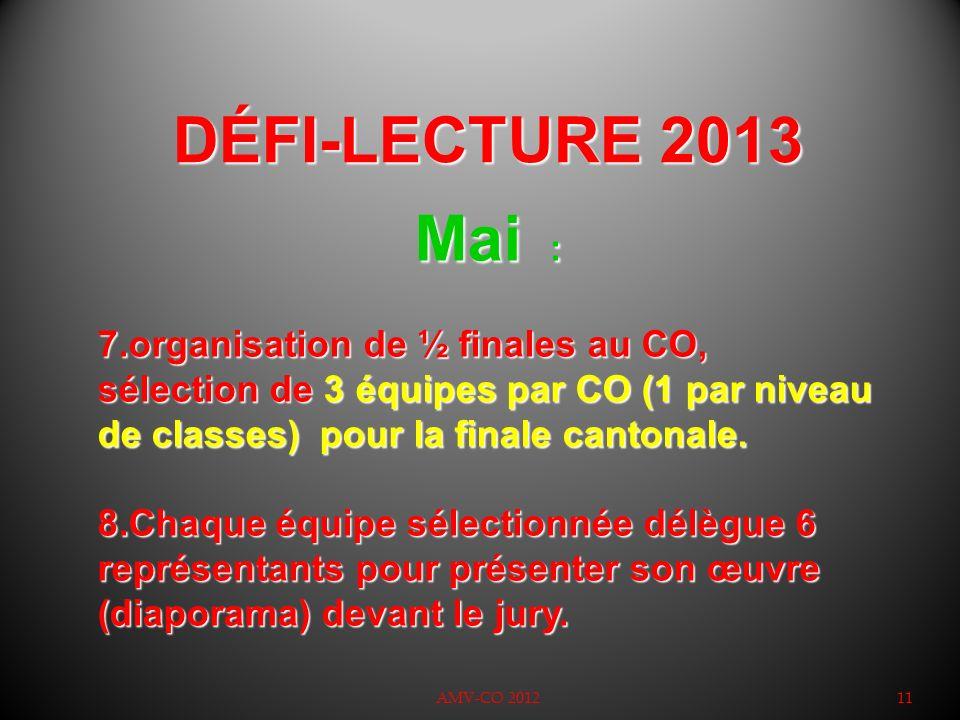 DÉFI-LECTURE 2013 AMV-CO 201211 Mai : 7.organisation de ½ finales au CO, sélection de 3 équipes par CO (1 par niveau de classes) pour la finale canton