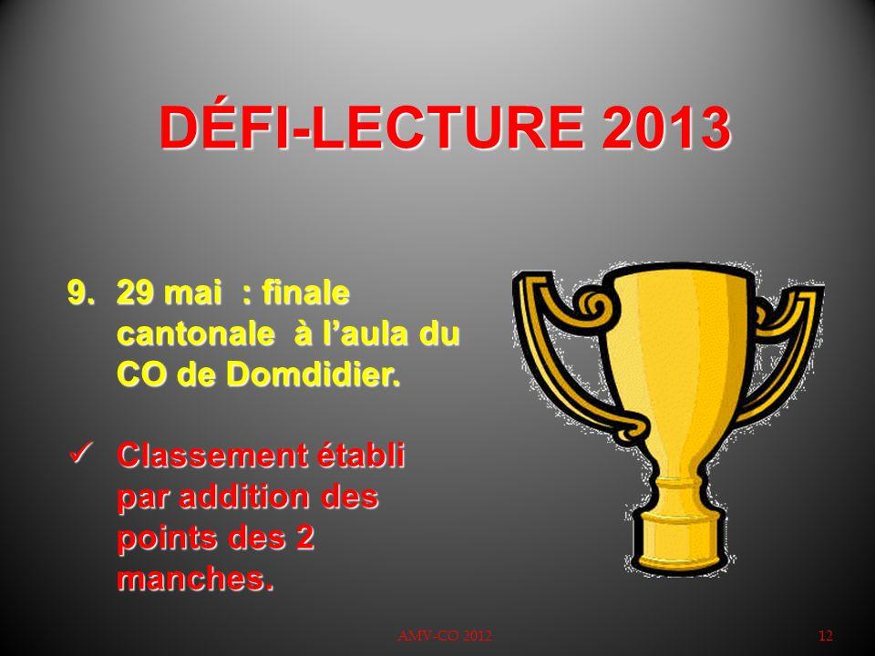 DÉFI-LECTURE 2013 AMV-CO 201212 9.29 mai : finale cantonale à laula du CO de Domdidier. Classement établi par addition des points des 2 manches. Class