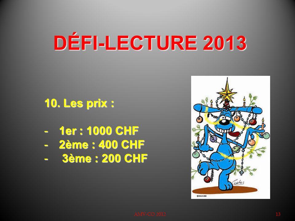 DÉFI-LECTURE 2013 AMV-CO 201213 10. Les prix : -1er : 1000 CHF -2ème : 400 CHF - 3ème : 200 CHF