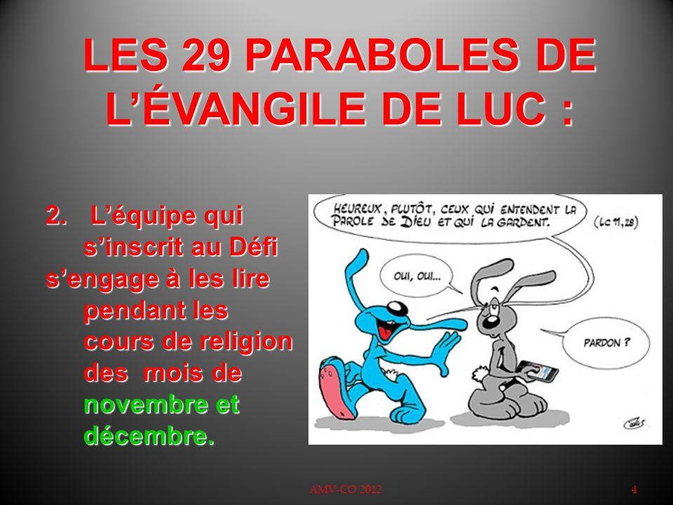 LES 29 PARABOLES DE LÉVANGILE DE LUC : 4 2. Léquipe qui sinscrit au Défi sengage à les lire pendant les cours de religion des mois de novembre et déce