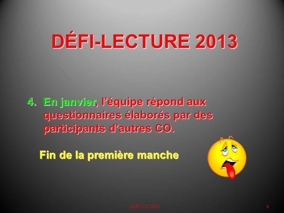 DÉFI-LECTURE 2013 AMV-CO 20126 4.En janvier, léquipe répond aux questionnaires élaborés par des participants dautres CO. Fin de la première manche Fin