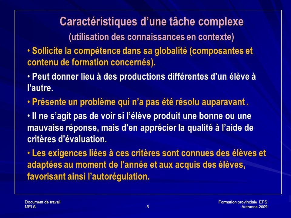Document de travailFormation provinciale EPS MELS5Automne 2009 Caractéristiques dune tâche complexe (utilisation des connaissances en contexte) Sollic