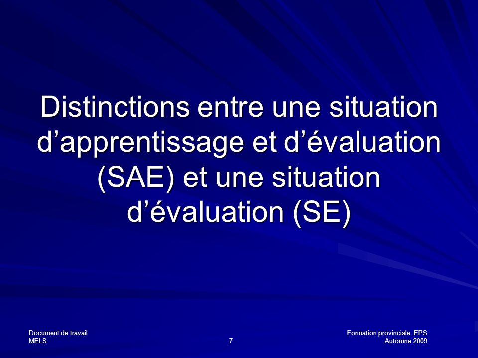 Document de travailFormation provinciale EPS MELS7Automne 2009 Distinctions entre une situation dapprentissage et dévaluation (SAE) et une situation d