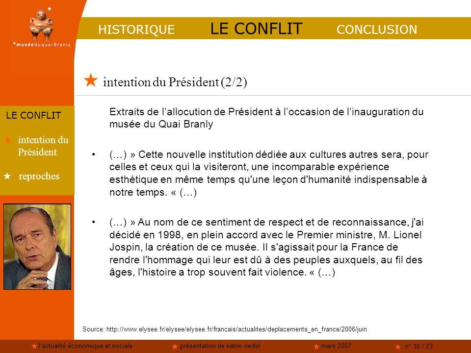 lactualité économique et socialeprésentation de katrin riedelmars 2007 n° 16 / 23 intention du Président (2/2) HISTORIQUE LE CONFLIT CONCLUSION LE CON