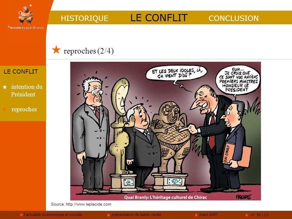 lactualité économique et socialeprésentation de katrin riedelmars 2007 n° 18 / 23 reproches (2/4) HISTORIQUE LE CONFLIT CONCLUSION LE CONFLIT intentio