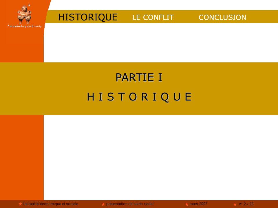 lactualité économique et socialeprésentation de katrin riedelmars 2007 n° 2 / 23 CONCLUSION PARTIE I H I S T O R I Q U E LE CONFLIT