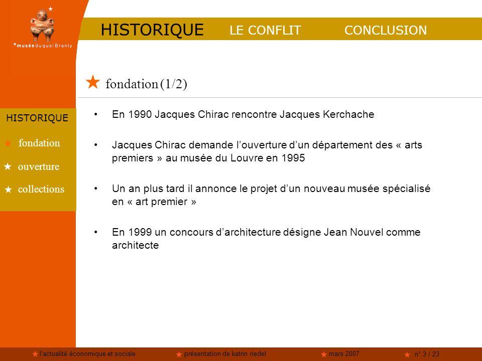 lactualité économique et socialeprésentation de katrin riedelmars 2007 n° 3 / 23 fondation (1/2) LE CONFLITCONCLUSION HISTORIQUE fondation collections