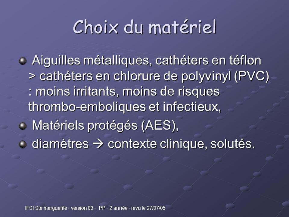 IFSI Ste marguerite - version 03 - PP - 2 année - revu le 27/07/05 Choix du matériel Aiguilles métalliques, cathéters en téflon > cathéters en chlorure de polyvinyl (PVC) : moins irritants, moins de risques thrombo-emboliques et infectieux, Aiguilles métalliques, cathéters en téflon > cathéters en chlorure de polyvinyl (PVC) : moins irritants, moins de risques thrombo-emboliques et infectieux, Matériels protégés (AES), Matériels protégés (AES), diamètres contexte clinique, solutés.