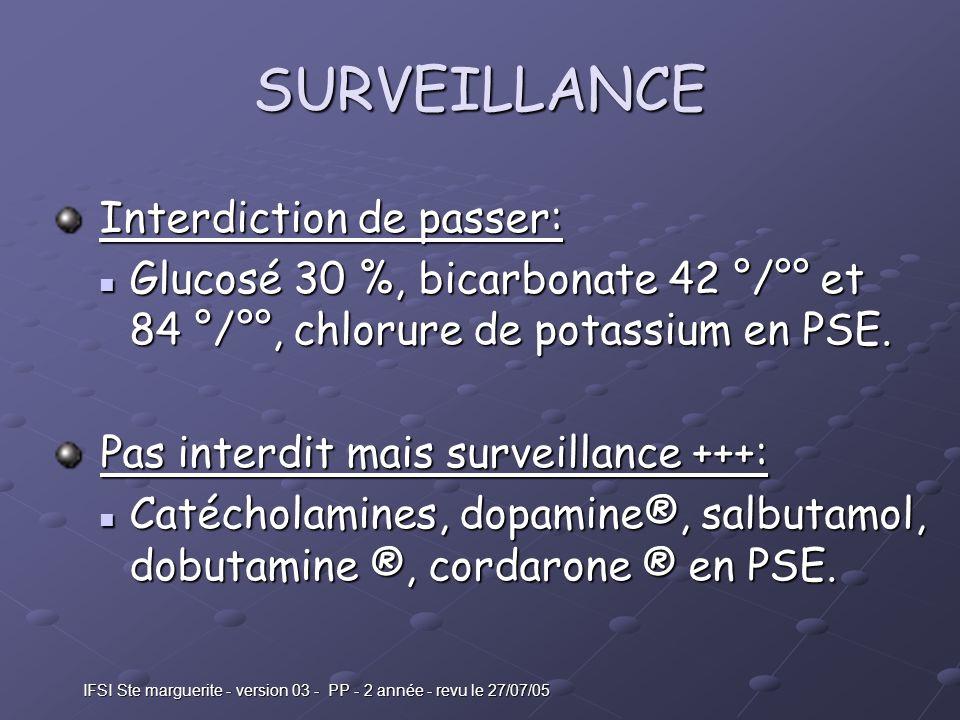 IFSI Ste marguerite - version 03 - PP - 2 année - revu le 27/07/05 SURVEILLANCE Interdiction de passer: Interdiction de passer: Glucosé 30 %, bicarbonate 42 °/°° et 84 °/°°, chlorure de potassium en PSE.