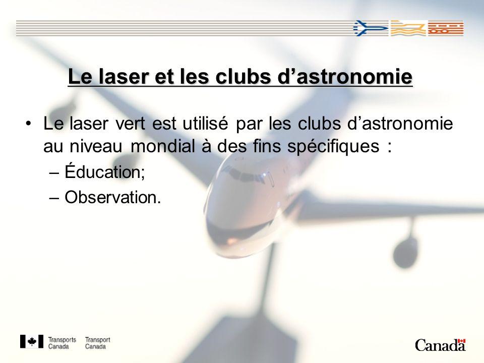 Le laser et les clubs dastronomie Le laser vert est utilisé par les clubs dastronomie au niveau mondial à des fins spécifiques : –Éducation; –Observation.