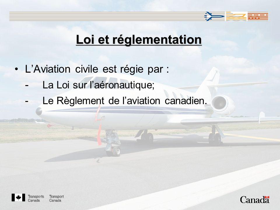 Loi et réglementation LAviation civile est régie par : - La Loi sur laéronautique; -Le Règlement de laviation canadien.
