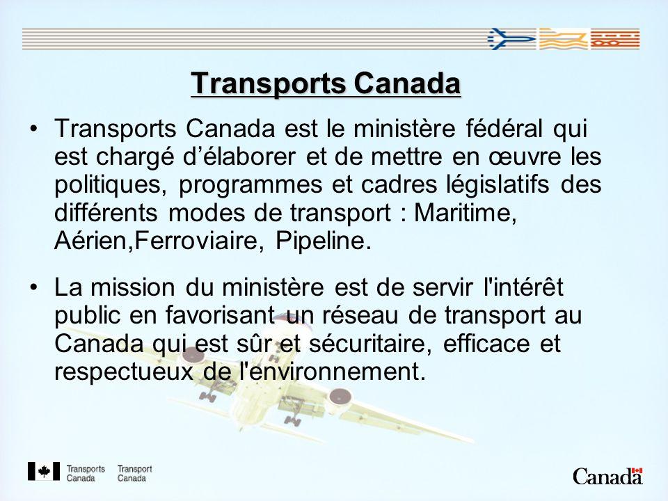 Transports Canada Transports Canada est le ministère fédéral qui est chargé délaborer et de mettre en œuvre les politiques, programmes et cadres législatifs des différents modes de transport : Maritime, Aérien,Ferroviaire, Pipeline.
