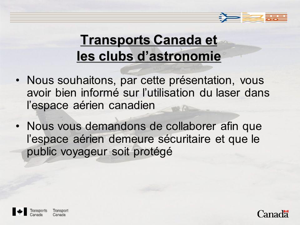 Transports Canada et les clubs dastronomie Nous souhaitons, par cette présentation, vous avoir bien informé sur lutilisation du laser dans lespace aérien canadien Nous vous demandons de collaborer afin que lespace aérien demeure sécuritaire et que le public voyageur soit protégé