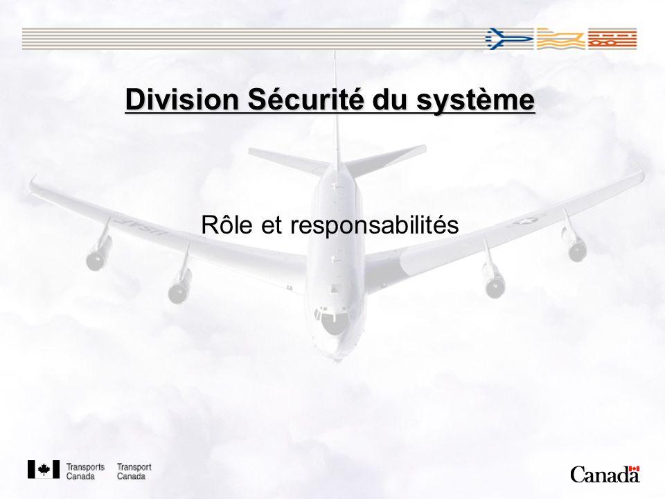 Division Sécurité du système Rôle et responsabilités