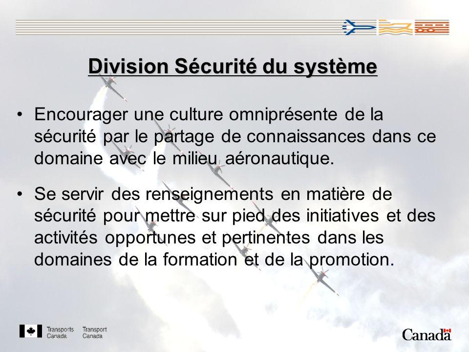 Division Sécurité du système Encourager une culture omniprésente de la sécurité par le partage de connaissances dans ce domaine avec le milieu aéronautique.