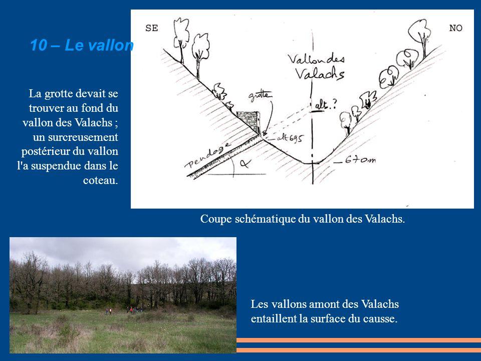 La grotte devait se trouver au fond du vallon des Valachs ; un surcreusement postérieur du vallon l'a suspendue dans le coteau. Les vallons amont des