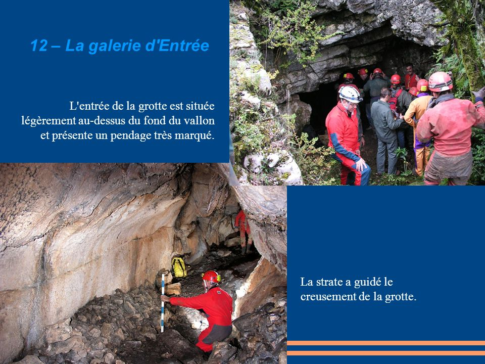 12 – La galerie d'Entrée L'entrée de la grotte est située légèrement au-dessus du fond du vallon et présente un pendage très marqué. La strate a guidé