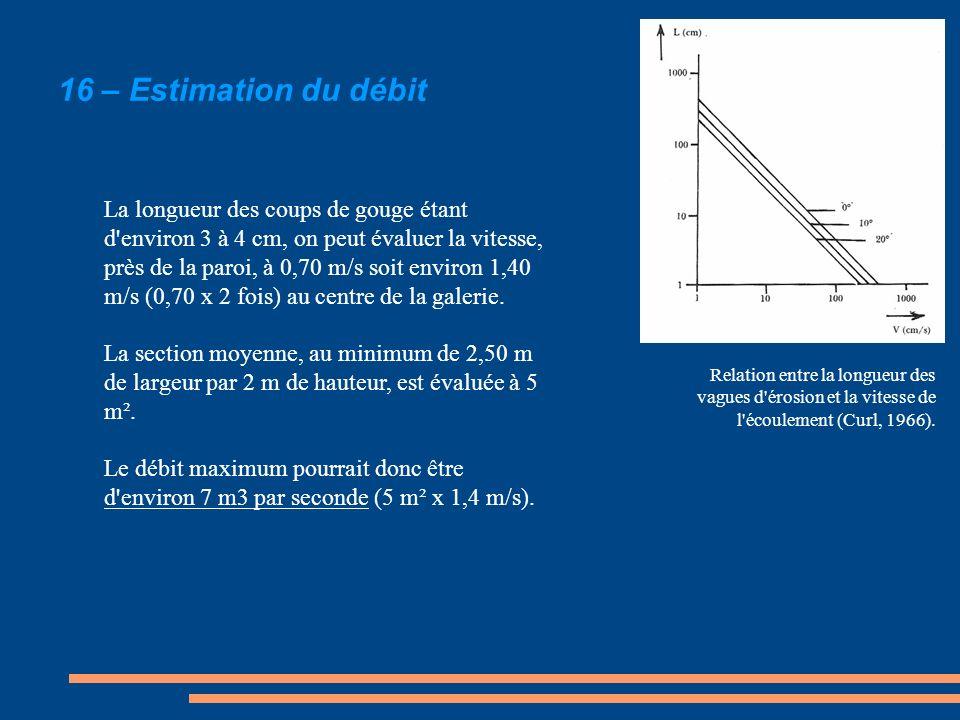 La longueur des coups de gouge étant d'environ 3 à 4 cm, on peut évaluer la vitesse, près de la paroi, à 0,70 m/s soit environ 1,40 m/s (0,70 x 2 fois