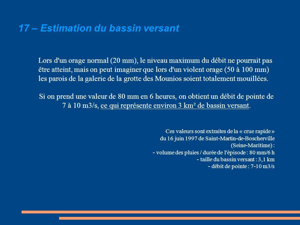 17 – Estimation du bassin versant Lors d'un orage normal (20 mm), le niveau maximum du débit ne pourrait pas être atteint, mais on peut imaginer que l