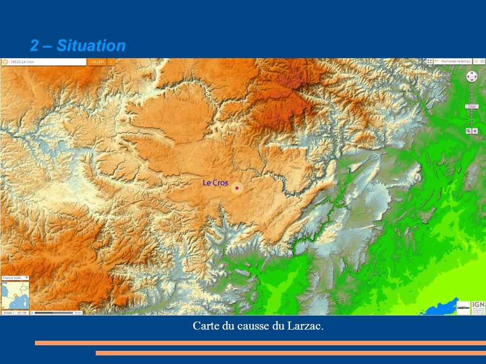 2 – Situation Carte du causse du Larzac.