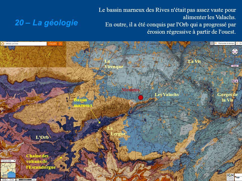 Le bassin marneux des Rives n'était pas assez vaste pour alimenter les Valachs. En outre, il a été conquis par l'Orb qui a progressé par érosion régre