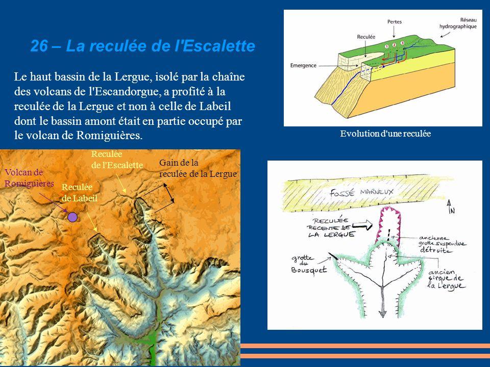Le haut bassin de la Lergue, isolé par la chaîne des volcans de l'Escandorgue, a profité à la reculée de la Lergue et non à celle de Labeil dont le ba
