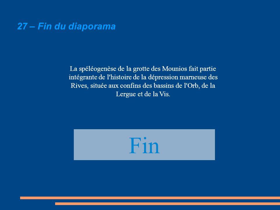 27 – Fin du diaporama Fin La spéléogenèse de la grotte des Mounios fait partie intégrante de l'histoire de la dépression marneuse des Rives, située au