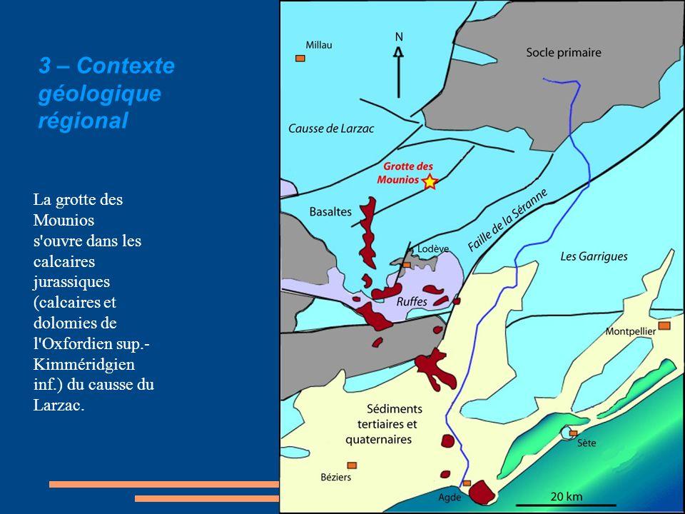 3 – Contexte géologique régional La grotte des Mounios s'ouvre dans les calcaires jurassiques (calcaires et dolomies de l'Oxfordien sup.- Kimméridgien