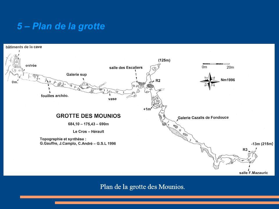 5 – Plan de la grotte Plan de la grotte des Mounios.