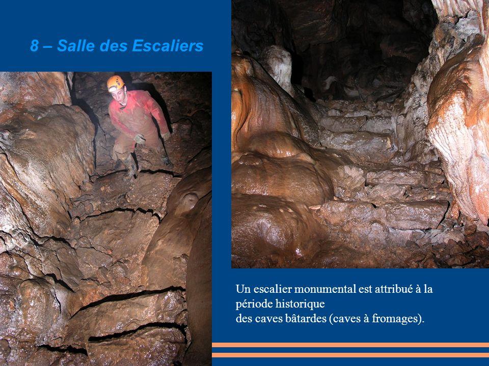 Un escalier monumental est attribué à la période historique des caves bâtardes (caves à fromages). 8 – Salle des Escaliers