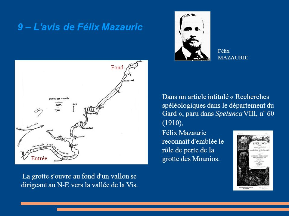 9 – L'avis de Félix Mazauric La grotte s'ouvre au fond d'un vallon se dirigeant au N-E vers la vallée de la Vis. Entrée Fond Dans un article intitulé