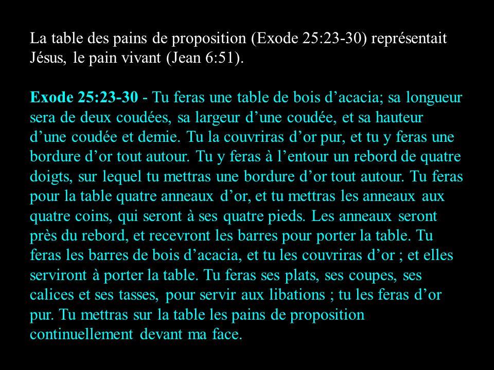 La table des pains de proposition (Exode 25:23-30) représentait Jésus, le pain vivant (Jean 6:51). Exode 25:23-30 - Tu feras une table de bois dacacia