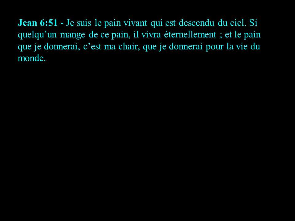 Jean 6:51 - Je suis le pain vivant qui est descendu du ciel. Si quelquun mange de ce pain, il vivra éternellement ; et le pain que je donnerai, cest m