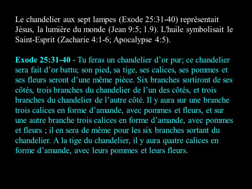 Le chandelier aux sept lampes (Exode 25:31-40) représentait Jésus, la lumière du monde (Jean 9:5; 1.9). L'huile symbolisait le Saint-Esprit (Zacharie