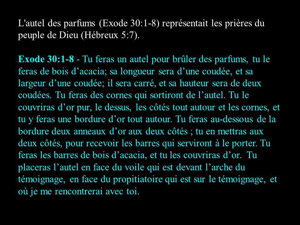 L'autel des parfums (Exode 30:1-8) représentait les prières du peuple de Dieu (Hébreux 5:7). Exode 30:1-8 - Tu feras un autel pour brûler des parfums,