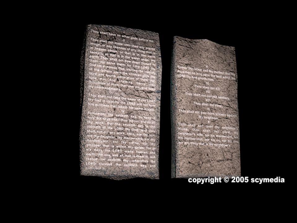 Dieu écrivit Son alliance avec Son propre doigt, sur deux tables de pierre, et elles furent placées à l intérieur de l arche.