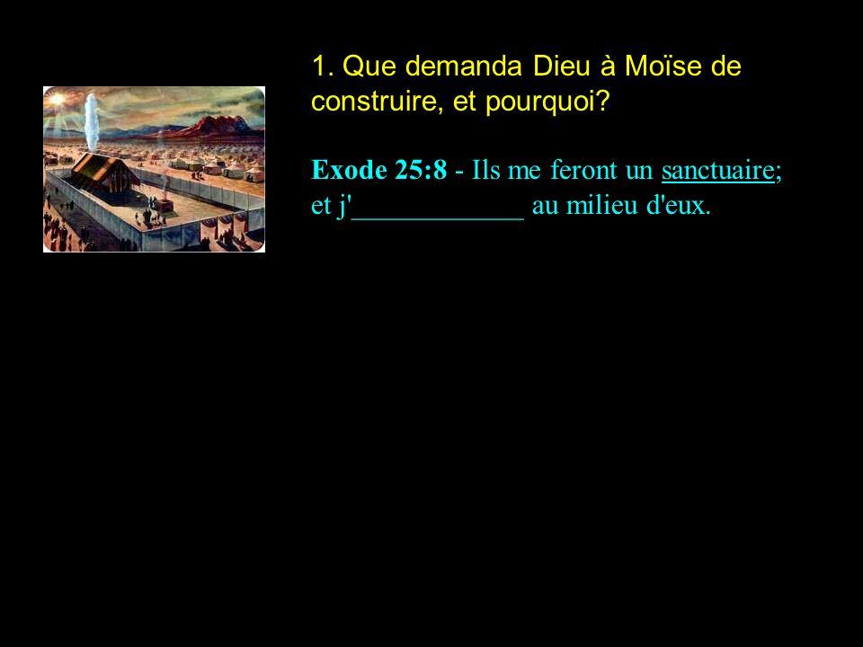 1. Que demanda Dieu à Moïse de construire, et pourquoi? Exode 25:8 - Ils me feront un sanctuaire; et j'____________ au milieu d'eux.