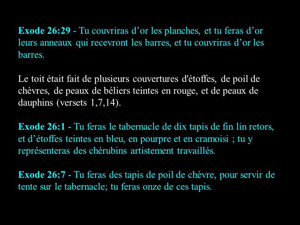 Exode 26:29 - Tu couvriras dor les planches, et tu feras dor leurs anneaux qui recevront les barres, et tu couvriras dor les barres. Le toit était fai