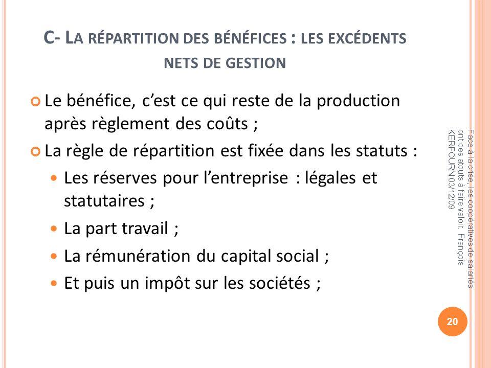 C- L A RÉPARTITION DES BÉNÉFICES : LES EXCÉDENTS NETS DE GESTION Le bénéfice, cest ce qui reste de la production après règlement des coûts ; La règle
