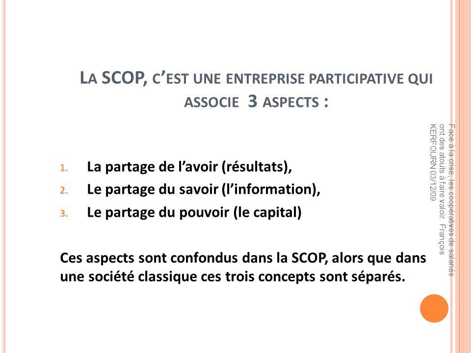 L A SCOP, C EST UNE ENTREPRISE PARTICIPATIVE QUI ASSOCIE 3 ASPECTS : 1. La partage de lavoir (résultats), 2. Le partage du savoir (linformation), 3. L