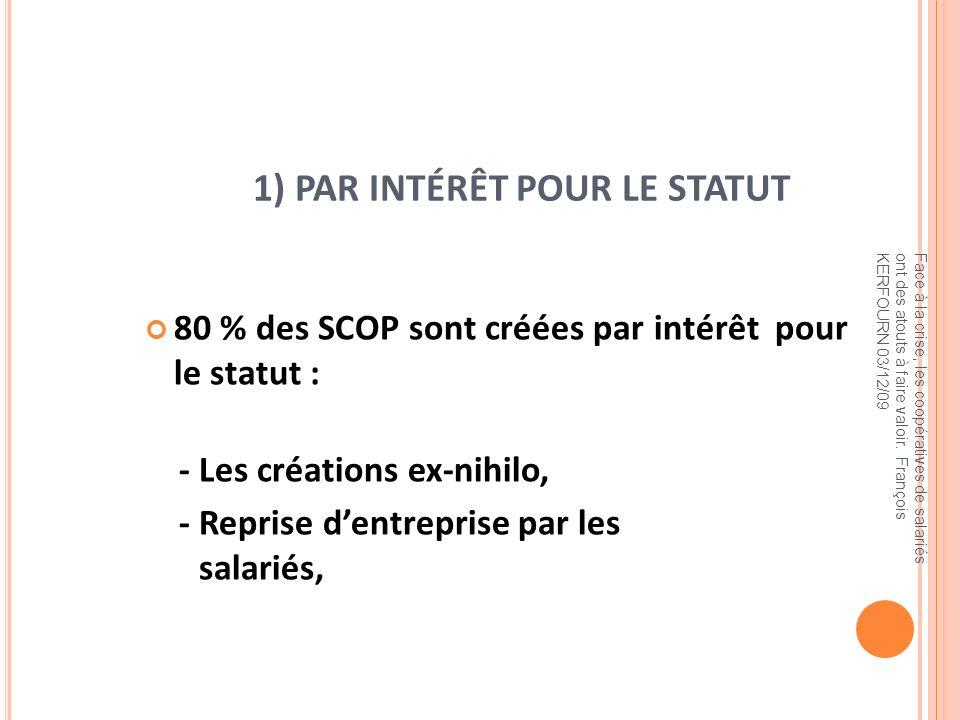 1) PAR INTÉRÊT POUR LE STATUT 80 % des SCOP sont créées par intérêt pour le statut : - Les créations ex-nihilo, - Reprise dentreprise par les salariés