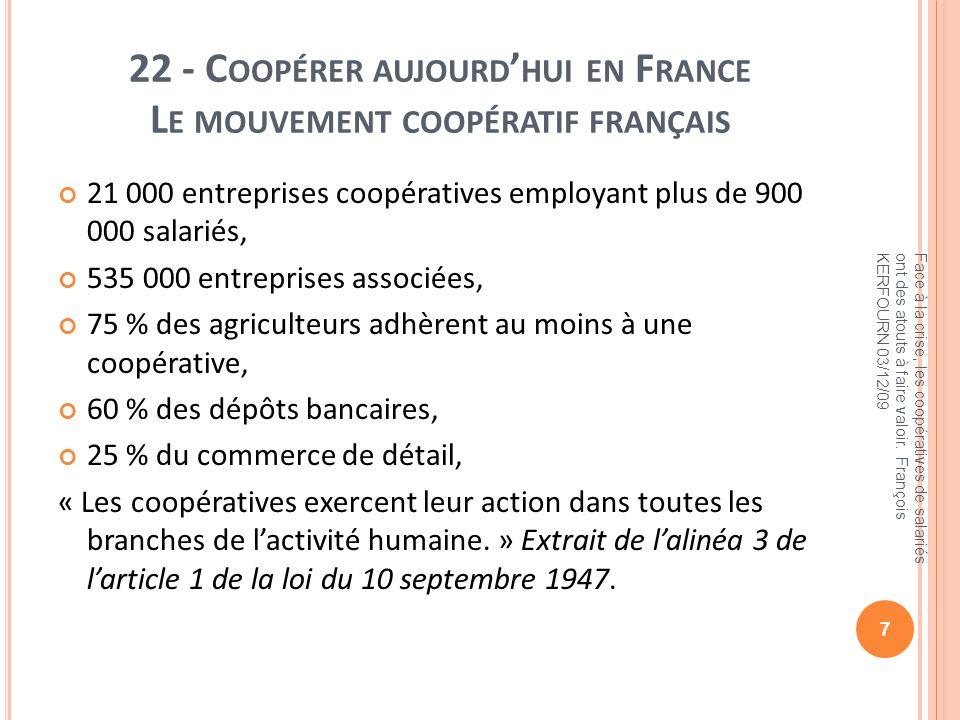 22 - C OOPÉRER AUJOURD HUI EN F RANCE L E MOUVEMENT COOPÉRATIF FRANÇAIS 21 000 entreprises coopératives employant plus de 900 000 salariés, 535 000 en