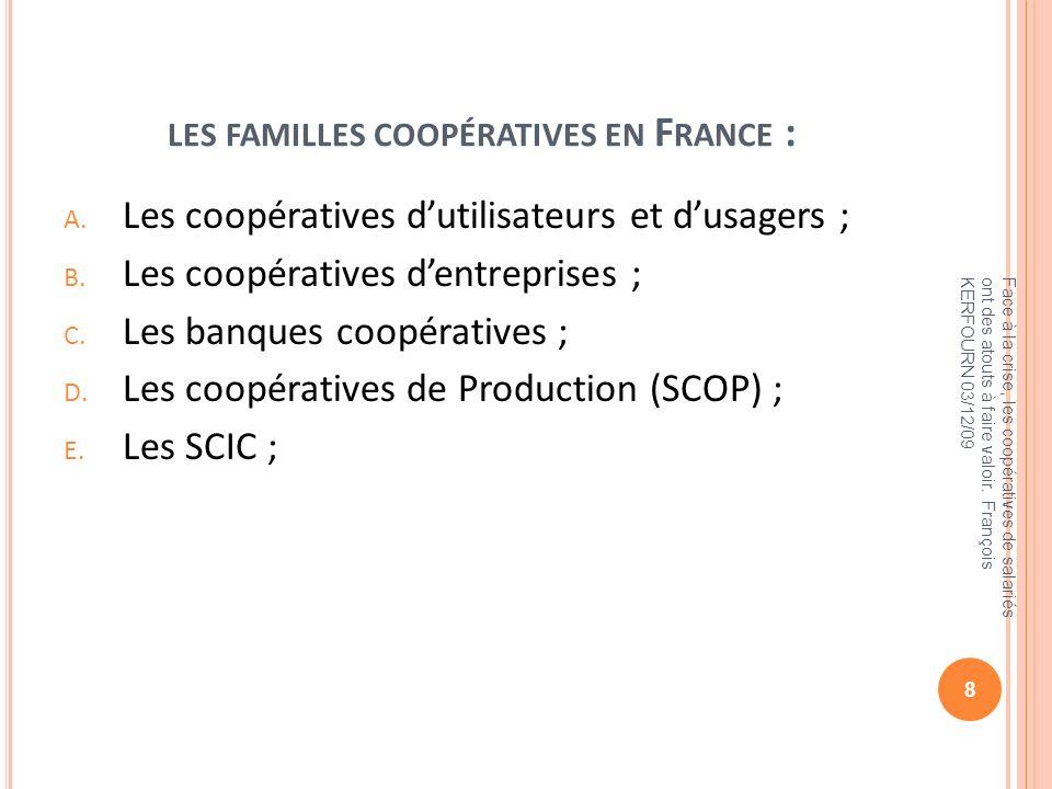 LES FAMILLES COOPÉRATIVES EN F RANCE : A. Les coopératives dutilisateurs et dusagers ; B. Les coopératives dentreprises ; C. Les banques coopératives
