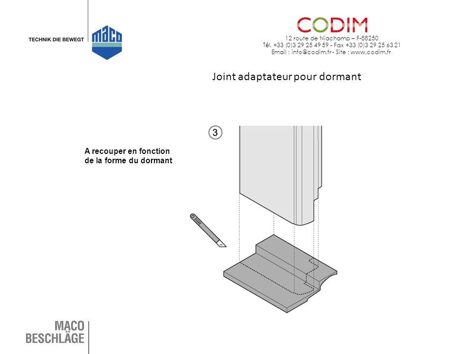 12 route de Niachamp – F-88250 T é l. +33 (0)3 29 25 49 59 - Fax +33 (0)3 29 25 63 21 Email : info@codim.fr - Site : www.codim.fr Joint adaptateur pou