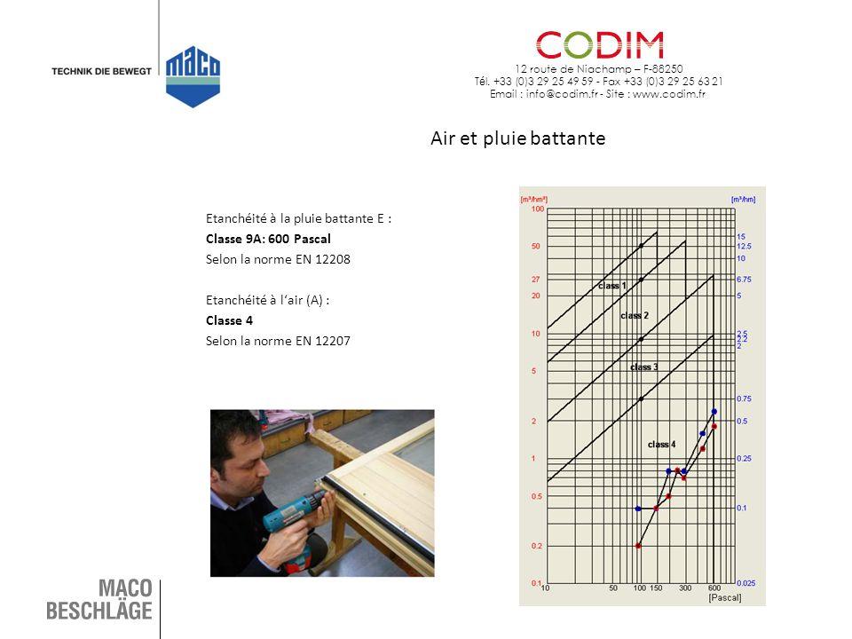 12 route de Niachamp – F-88250 T é l. +33 (0)3 29 25 49 59 - Fax +33 (0)3 29 25 63 21 Email : info@codim.fr - Site : www.codim.fr Air et pluie battant