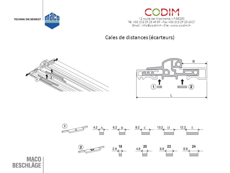 12 route de Niachamp – F-88250 T é l. +33 (0)3 29 25 49 59 - Fax +33 (0)3 29 25 63 21 Email : info@codim.fr - Site : www.codim.fr Cales de distances (