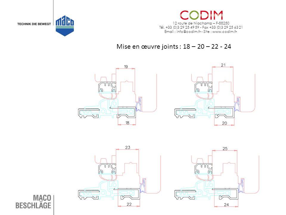 12 route de Niachamp – F-88250 T é l. +33 (0)3 29 25 49 59 - Fax +33 (0)3 29 25 63 21 Email : info@codim.fr - Site : www.codim.fr Mise en œuvre joints